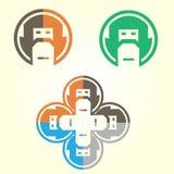 Χαριτωμένο εικονίδιο ρομπότ στο λεκτικό κύκλο Υπηρεσία υποστήριξης BOT r στοκ φωτογραφίες