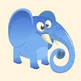 Χαριτωμένο εικονίδιο ελεφάντων κινούμενων σχεδίων μπλε Διανυσματική απεικόνιση με τις απλές κλίσεις ελεύθερη απεικόνιση δικαιώματος