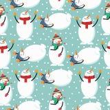 Χαριτωμένο επίπεδο άνευ ραφής σχέδιο Χριστουγέννων σχεδίου με το χιονάνθρωπο ελεύθερη απεικόνιση δικαιώματος