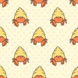 Χαριτωμένο ερημιτών υπόβαθρο σχεδίων καβουριών άνευ ραφής ελεύθερη απεικόνιση δικαιώματος