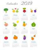 Χαριτωμένο ετήσιο ημερολόγιο 2019 διανυσματική απεικόνιση