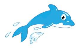 Χαριτωμένο δελφίνι κινούμενων σχεδίων που πηδά από το νερό Στοκ Φωτογραφίες