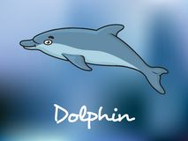 Χαριτωμένο δελφίνι κινούμενων σχεδίων στο ωκεάνιο νερό Στοκ Φωτογραφίες