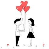 Χαριτωμένο ζεύγος κινούμενων σχεδίων με τα κόκκινα μπαλόνια μορφής καρδιών Στοκ φωτογραφία με δικαίωμα ελεύθερης χρήσης