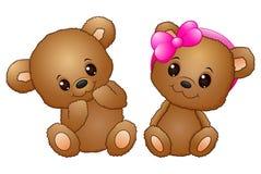 Χαριτωμένο ζεύγος με μια teddy αρκούδα που φορά ένα ρόδινο τόξο απεικόνιση αποθεμάτων