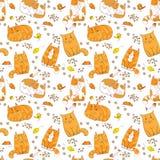 Χαριτωμένο ζωηρόχρωμο άνευ ραφής σχέδιο γατών Στοκ εικόνα με δικαίωμα ελεύθερης χρήσης