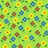 Χαριτωμένο ζωηρόχρωμο διανυσματικό άνευ ραφής σχέδιο λουλουδιών Στοκ Εικόνες