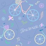 Χαριτωμένο ζωηρόχρωμο όμορφο άνευ ραφής σχέδιο ποδηλάτων με τα λουλούδια και τα πουλιά και τις διακοσμητικές ρόδες διανυσματική απεικόνιση