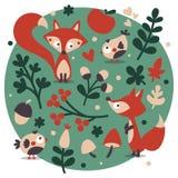 Χαριτωμένο ζωικό σύνολο φθινοπώρου που γίνεται με την αλεπού, πουλί, λουλούδι Στοκ Εικόνες
