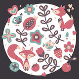 Χαριτωμένο ζωικό floral σύνολο αλεπούς, λουλούδια, φυτά, φύλλο, καρδιές, φίλοι, πουλιά Στοκ Εικόνες