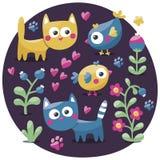 Χαριτωμένο ζωικό floral σύνολο γατών, λουλούδια, φυτά, φύλλο, γατάκι φίλων Στοκ εικόνες με δικαίωμα ελεύθερης χρήσης