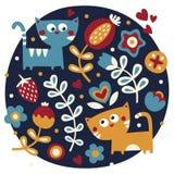 Χαριτωμένο ζωικό floral σύνολο γατών, λουλούδια, φυτά, φύλλο, καρδιές, φίλοι Στοκ εικόνα με δικαίωμα ελεύθερης χρήσης