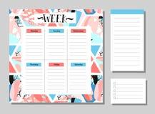 Χαριτωμένο ημερολόγιο καθημερινά και εβδομαδιαίο πρότυπο αρμόδιων για το σχεδιασμό Έγγραφο και αυτοκόλλητες ετικέττες σημειώσεων  Στοκ Εικόνα
