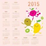 Χαριτωμένο διάνυσμα ακτινίδιων κερασιών μάγκο κινούμενων σχεδίων ημερολογιακών 2015 φρούτων απεικόνιση αποθεμάτων