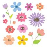 Χαριτωμένο διάνυσμα εικονιδίων χρώματος κινούμενων σχεδίων λουλουδιών απεικόνιση αποθεμάτων