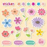 Χαριτωμένο διάνυσμα εικονιδίων χρώματος κινούμενων σχεδίων λουλουδιών αυτοκόλλητων ετικεττών Στοκ Εικόνες