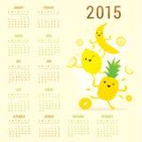 Χαριτωμένο διάνυσμα λεμονιών ανανά μπανανών κινούμενων σχεδίων ημερολογιακών 2015 φρούτων ελεύθερη απεικόνιση δικαιώματος