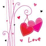 Χαριτωμένο διάνυσμα κινούμενων σχεδίων αγάπης καρδιών διανυσματική απεικόνιση