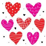 Χαριτωμένο διάνυσμα κινούμενων σχεδίων αγάπης καρδιών απεικόνιση αποθεμάτων