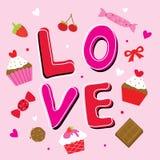 Χαριτωμένο διάνυσμα κινούμενων σχεδίων αγαπημένων αγάπης βαλεντίνων απεικόνιση αποθεμάτων