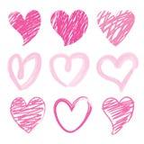 Χαριτωμένο διάνυσμα κινούμενων σχεδίων βουρτσών καρδιών βαλεντίνων αγαπημένων σ' αγαπώ διανυσματική απεικόνιση