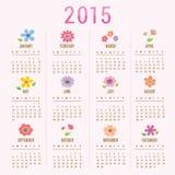 Χαριτωμένο διάνυσμα κινούμενων σχεδίων ημερολογιακών 2015 λουλουδιών απεικόνιση αποθεμάτων