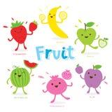 Χαριτωμένο διάνυσμα κινούμενων σχεδίων φρούτων απεικόνιση αποθεμάτων