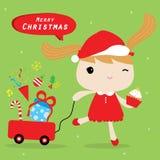 Χαριτωμένο διάνυσμα κινούμενων σχεδίων Χαρούμενα Χριστούγεννας αγάπης κοριτσιών διανυσματική απεικόνιση