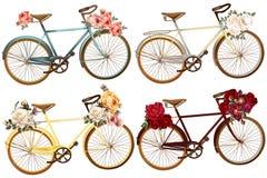 Χαριτωμένο διάνυσμα που τίθεται για την πρόσκληση με τα ποδήλατα και τα λουλούδια Στοκ φωτογραφία με δικαίωμα ελεύθερης χρήσης