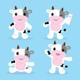Χαριτωμένο διάνυσμα σχεδίου κινούμενων σχεδίων χαρακτήρα αγελάδων ελεύθερη απεικόνιση δικαιώματος