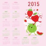 Χαριτωμένο διάνυσμα της Apple καρπουζιών φραουλών κινούμενων σχεδίων ημερολογιακών 2015 φρούτων διανυσματική απεικόνιση