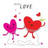 Χαριτωμένο διάνυσμα χαρακτήρα κινουμένων σχεδίων καρδιών διανυσματική απεικόνιση