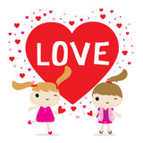 Χαριτωμένο διάνυσμα χαρακτήρα κινουμένων σχεδίων κοριτσιών αγάπης διανυσματική απεικόνιση