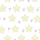 Χαριτωμένο διανυσματικό άνευ ραφής υπόβαθρο αστεριών Στοκ εικόνα με δικαίωμα ελεύθερης χρήσης