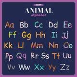 Χαριτωμένο διανυσματικό αλφάβητο ζωολογικών κήπων με τα κινούμενα σχέδια και αστείος Στοκ Φωτογραφία