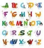 Χαριτωμένο διευκρινισμένο ζωολογικός κήπος αλφάβητο κινούμενων σχεδίων με τα αστεία ζώα το αλφάβητο αγγλικά παγώνει τις ελαφριές  διανυσματική απεικόνιση