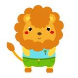 χαριτωμένο λιοντάρι Ζωικός χαρακτήρας kawaii κινούμενων σχεδίων στα ενδύματα Διανυσματική απεικόνιση για τη μόδα παιδιών και μωρώ ελεύθερη απεικόνιση δικαιώματος