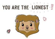 Χαριτωμένο λιοντάρι σκίτσων Απεικόνιση για την ημέρα βαλεντίνων Αγίου Απεικόνιση αποθεμάτων