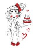 χαριτωμένο κέικ γενεθλίων με το κορίτσι απεικόνιση αποθεμάτων