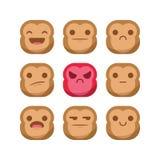 Χαριτωμένο καθορισμένο διάνυσμα smiley έκφρασης αντίδρασης emoji πιθήκων emoticon που απομονώνεται Στοκ Φωτογραφία