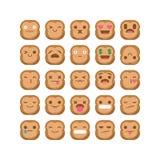 Χαριτωμένο καθορισμένο διάνυσμα smiley έκφρασης αντίδρασης emoji πιθήκων emoticon που απομονώνεται Στοκ Εικόνες