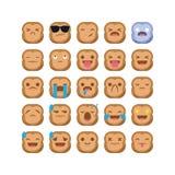 Χαριτωμένο καθορισμένο διάνυσμα smiley έκφρασης αντίδρασης emoji πιθήκων emoticon που απομονώνεται Στοκ φωτογραφία με δικαίωμα ελεύθερης χρήσης