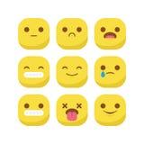 Χαριτωμένο καθορισμένο διάνυσμα smiley έκφρασης αντίδρασης emoji emoticon που απομονώνεται Στοκ Εικόνα