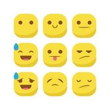 Χαριτωμένο καθορισμένο διάνυσμα smiley έκφρασης αντίδρασης emoji emoticon που απομονώνεται Στοκ εικόνες με δικαίωμα ελεύθερης χρήσης