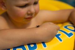 Χαριτωμένο και αστείο μικρό κορίτσι στην πισίνα, που κολυμπά στο διογκώσιμο δαχτυλίδι, έννοια τρόπου ζωής Ο διογκώσιμος κύκλος στοκ φωτογραφία με δικαίωμα ελεύθερης χρήσης