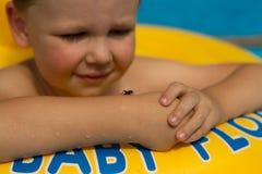 Χαριτωμένο και αστείο μικρό κορίτσι στην πισίνα, που κολυμπά στο διογκώσιμο δαχτυλίδι, έννοια τρόπου ζωής Ο διογκώσιμος κύκλος o  στοκ φωτογραφία με δικαίωμα ελεύθερης χρήσης