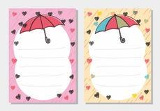 Χαριτωμένο και ρομαντικό υπόβαθρο κενών σελίδων με τη βροχή και το θέμα αγάπης διανυσματική απεικόνιση