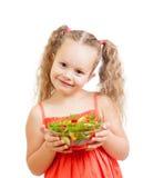 Χαριτωμένο κατσίκι κοριτσιών με τα υγιή λαχανικά τροφίμων Στοκ Εικόνες