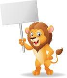 Χαριτωμένο κενό σημάδι εκμετάλλευσης λιονταριών κινούμενων σχεδίων Στοκ εικόνες με δικαίωμα ελεύθερης χρήσης