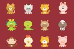 Χαριτωμένο κινεζικό Zodiac Στοκ Εικόνες